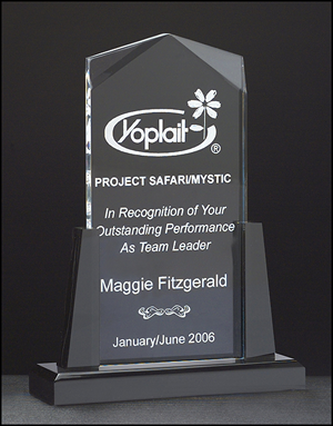 Spire Series Clear Acrylic Upright Award with Black Acrylic Base