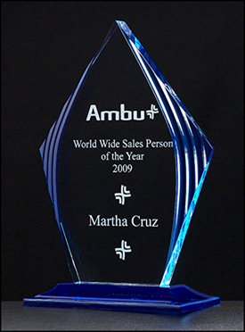 Flame Series Blue Acrylic Engraved Award