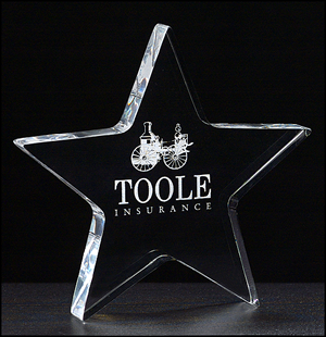 Star Shaped Clear Engraved Acrylic Paperweight