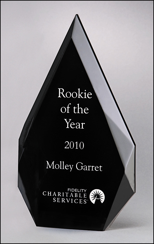 Flame Series Engraved Acrylic Award with Black Background
