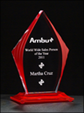 Flame Series Red Acrylic Engraved Award