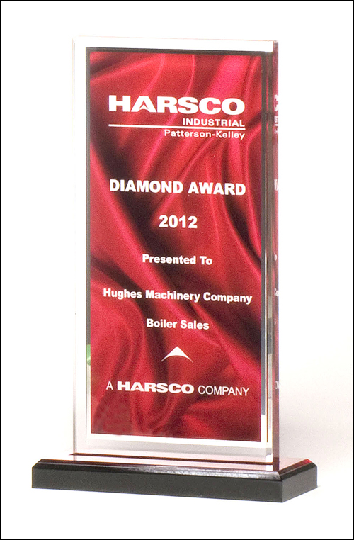 Deep Red Satin Pattern Engravable Acrylic Award