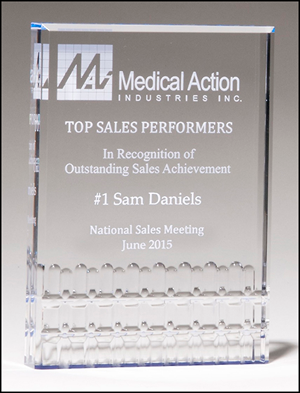 Clear Acrylic Freestanding Award with Blue Highlights