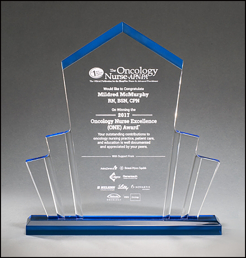 Tower Spotlight Engraved Acrylic Award with Blue Accent