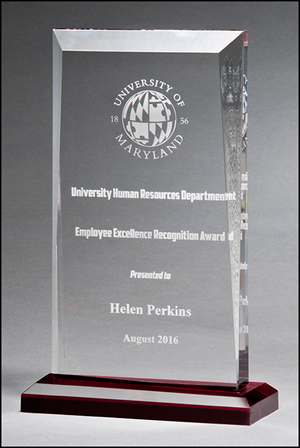 Apex Series Acrylic Engraved Award with Red Highlights