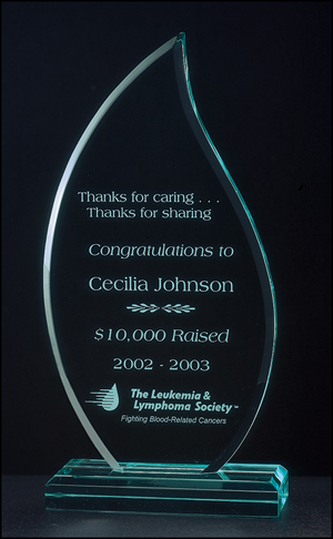 Flame Series Jade Green Engraved Acrylic Award