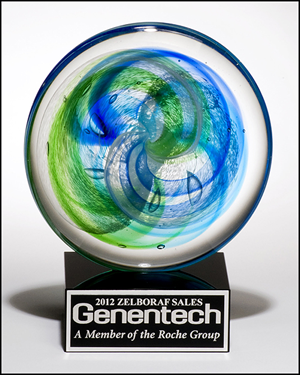 Disc Art Glass Award with Blue Green Accents on Black Glass Base