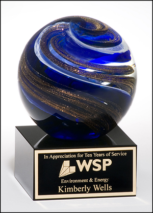 Globe Art Glass Award with Blue, White and Metallic Highlights on Black Glass Base