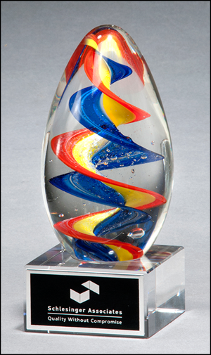 Multicolor Art Glass Award with Clear Glass Base