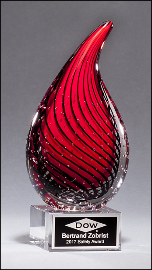 Droplet Shaped Red Art Glass Award on Clear Glass Base