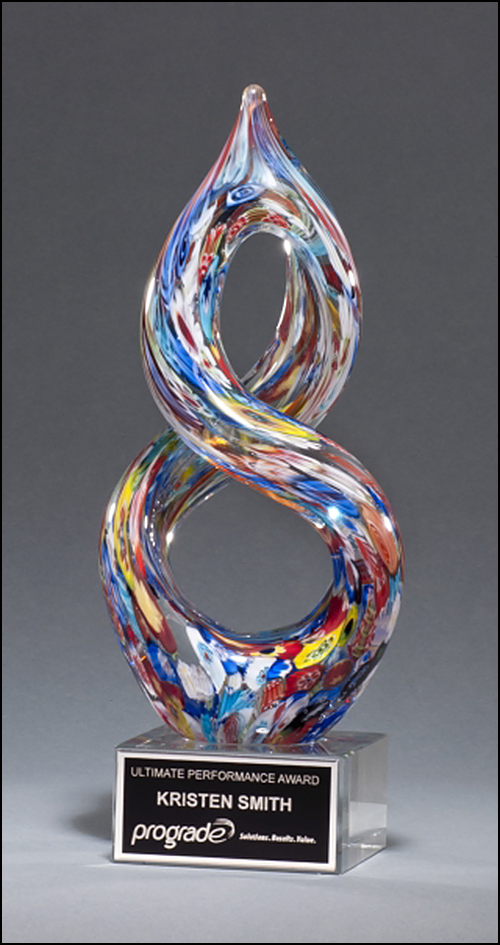 Helix Shaped Multi Color Art Glass Engraved Award