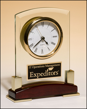 BC872 Personalized Beveled Glass Desktop Clock on Rosewood Base