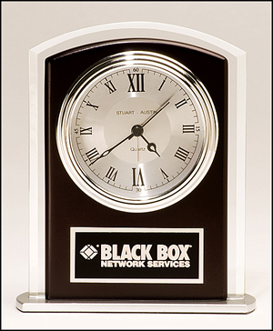 Beveled Glass Clock with wood accents