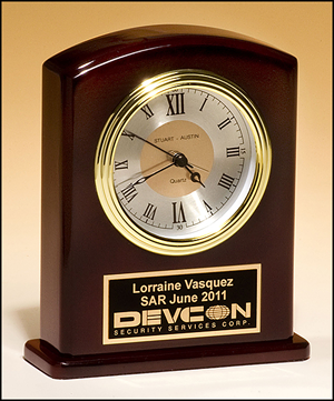 Rosewood Finish Clock with 3 Hand Movement