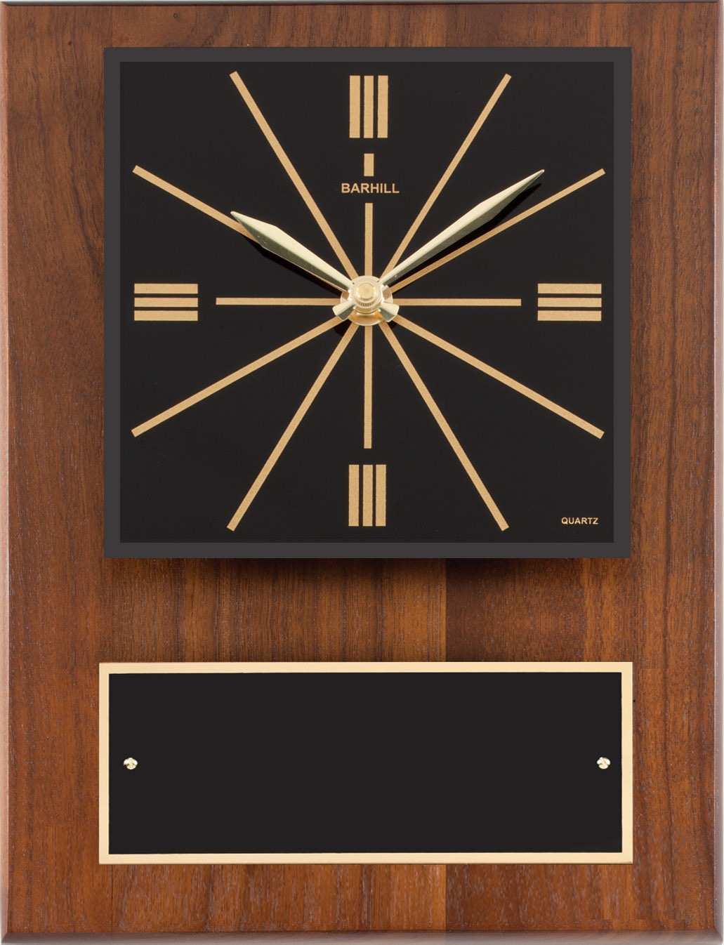 Walnut Clock With Black Dial
