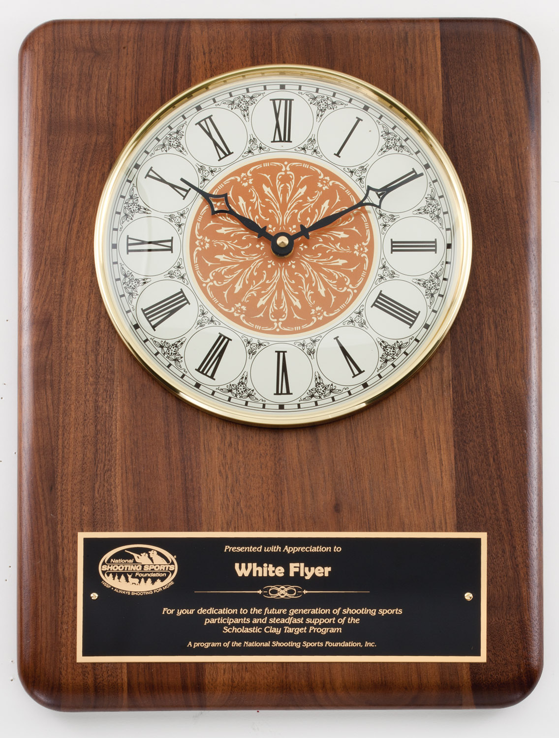 Solid Walnut Clock with White Dial and Engraving