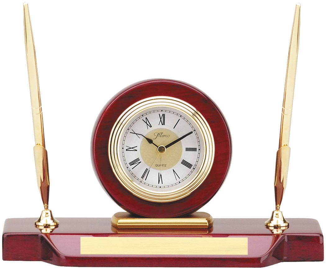 Personalized Rosewood Clock and 2 gold tone pens desk set