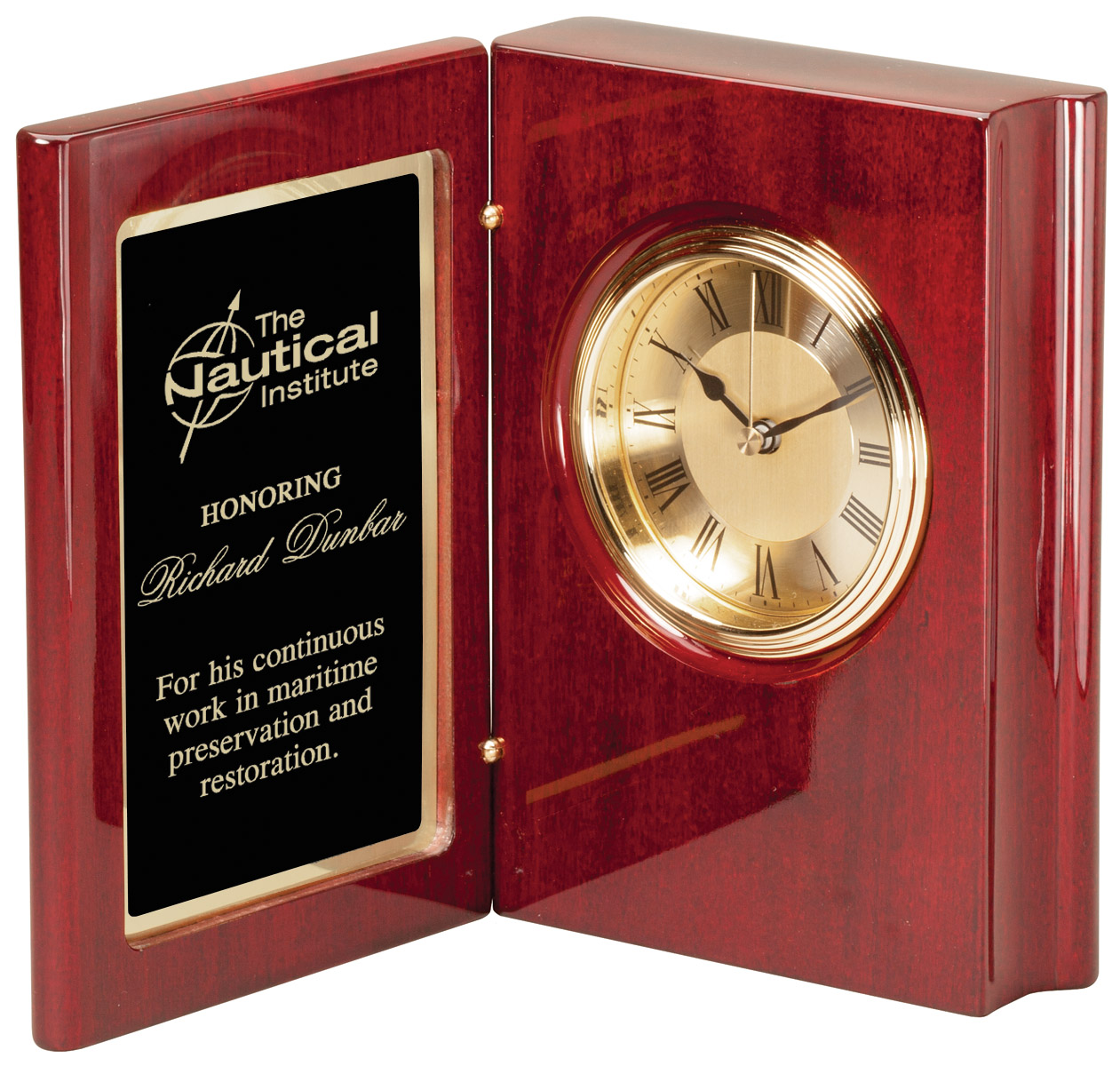 Personalized Rosewood Finish Book Clock