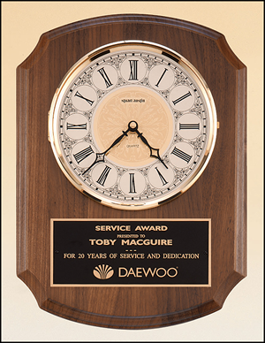 BC380 Personalized Solid walnut clock with solid brass, diamond-spun bezel with glass lens,