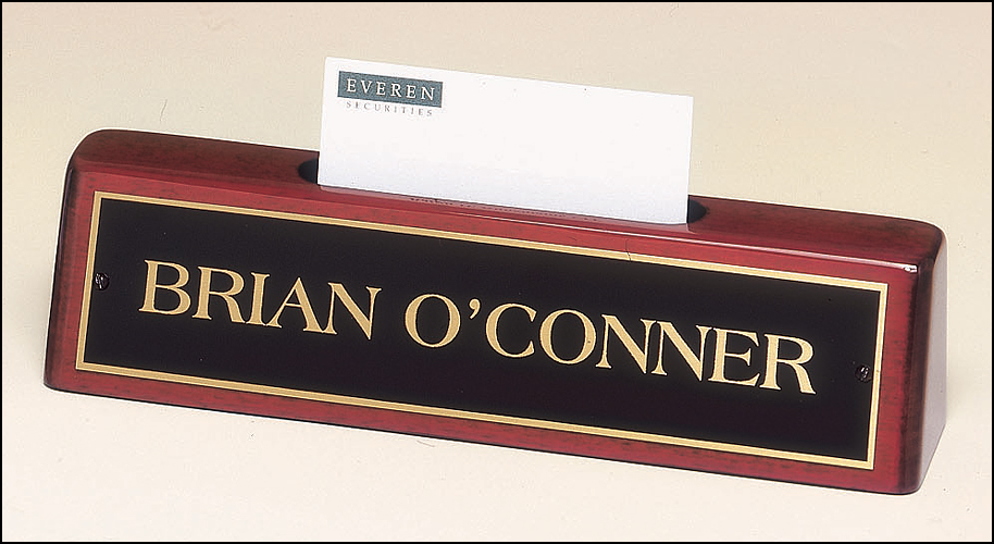 Nameplate with business card holder