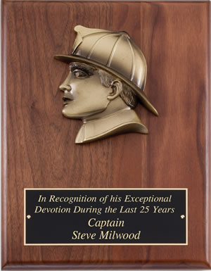 Fire Department Recognition Wall Plaque With Insignia