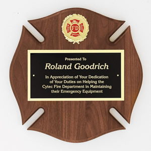 Walnut Fire Department Maltese Cross Plaque