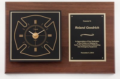 Fire Department Walnut Award Clock