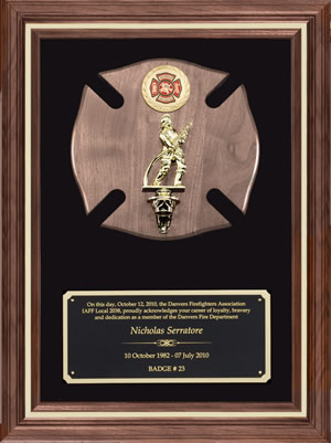 Fire Department Recognition Wall Plaque With Insignia & Fireman Figure