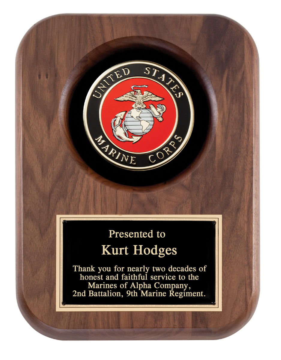 US Marine Corps Recognition Wall Plaque With Insignia