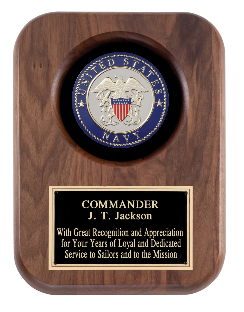 US Navy Recognition Wall Plaque With Insignia