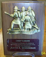 Fire Department Bravest Plaque Award