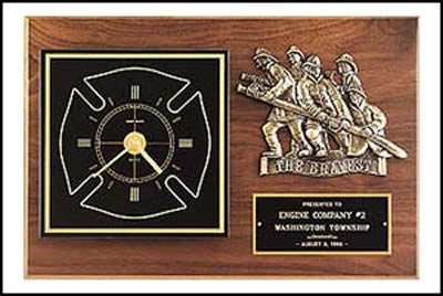 Fireman Award Clock With The Bravest Casting