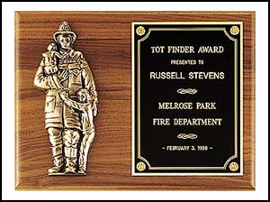 Fireman Award Walnut Plaque