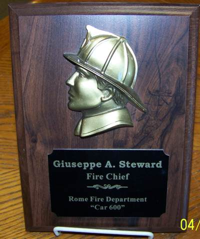Walnut Fire Department Plaque with Firemans Head