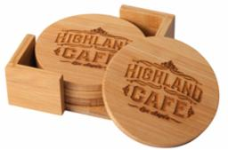 "4"" diameter Bamboo engravable coaster set"