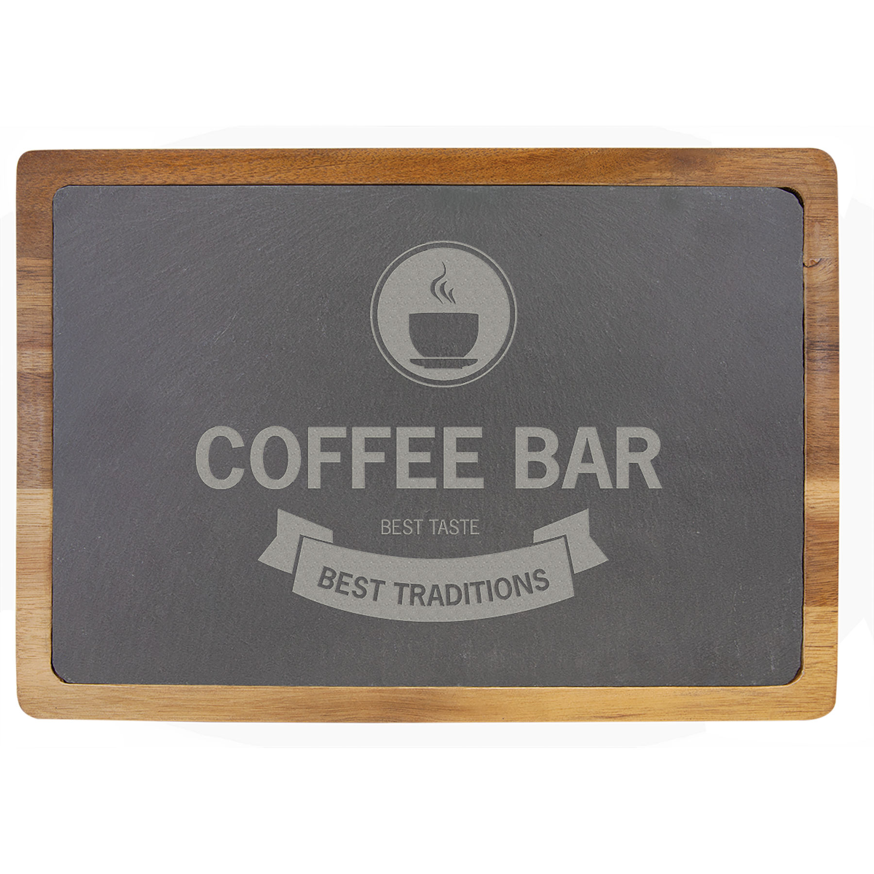 "Engravable 13 x 9"" Acacia Wood/Slate Cutting Board"