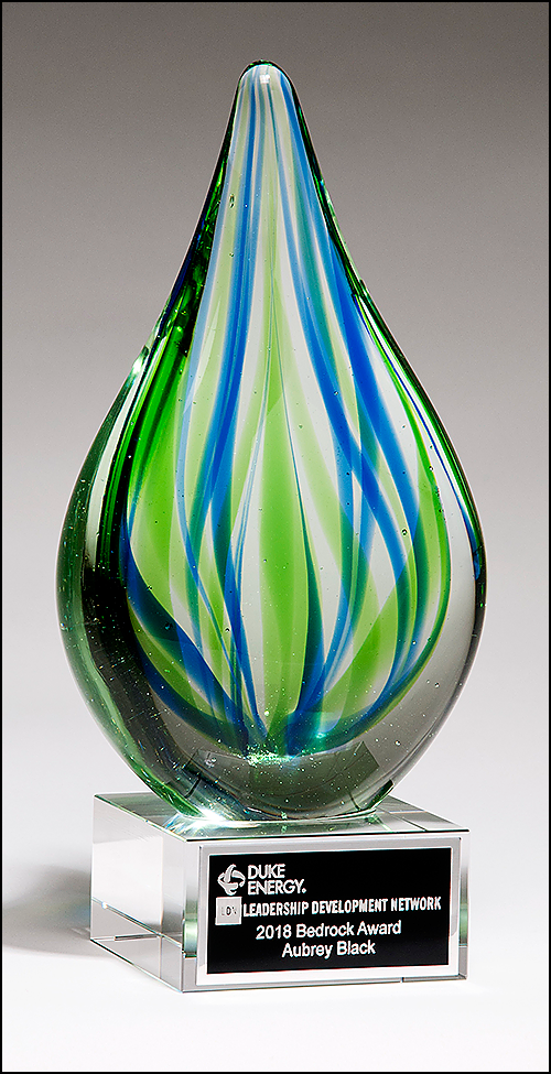 Personalized Blue Green Art Glass Engraved Award