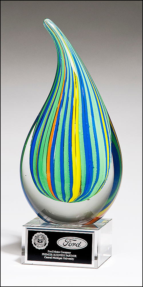Multi Colored Art Glass Engraved Award