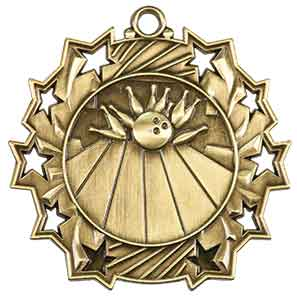 Bowling Ten Star Engraved Medal