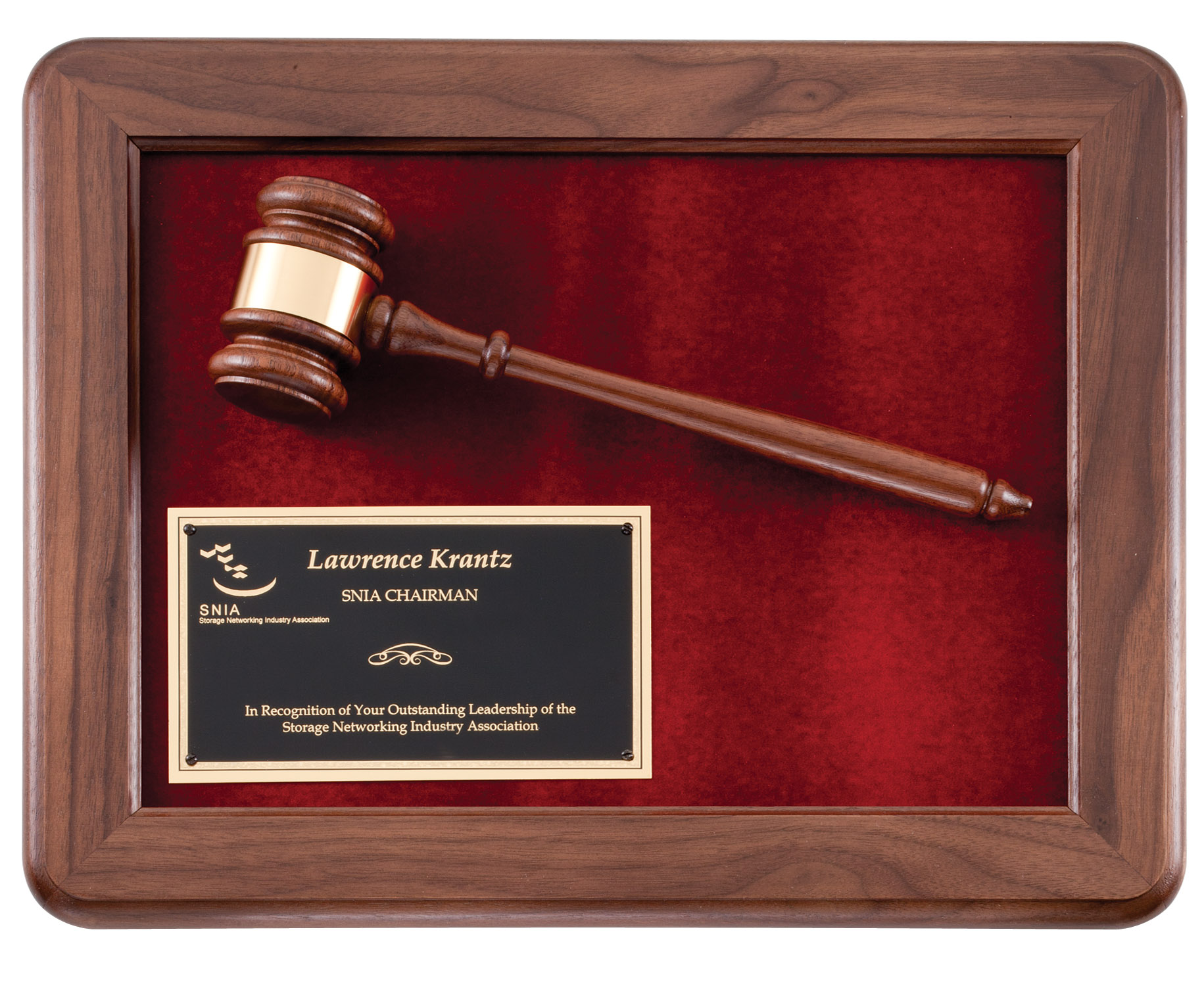 Engravable Wooden Gavel in walnut shadowbox plaque