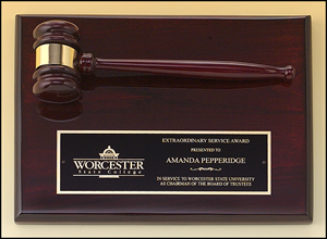 PG4470 Engravable Rosewood Finish Plaque and Gavel