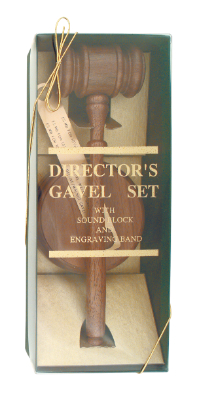 "Engravable Walnut Directors Gavel Set with 10"" Gavel and 4"" diameter Sounding Block"