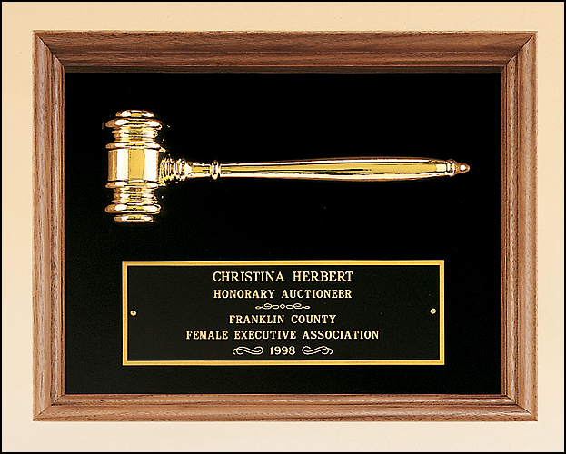 Engravable Metal Gavel in walnut shadowbox plaque