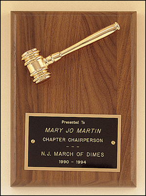 Engravable Walnut Plaque with Gold Tone Metal Gavel