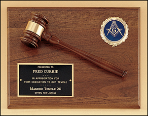 Engravable Walnut Gavel Plaque with Gavel and Logo