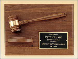 Engravable Walnut Gavel Plaque with Sounding Board